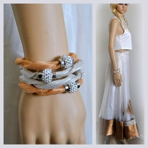 Jewelry - WHOLESALE of 4 Stackable Mesh Bracelets two Colors